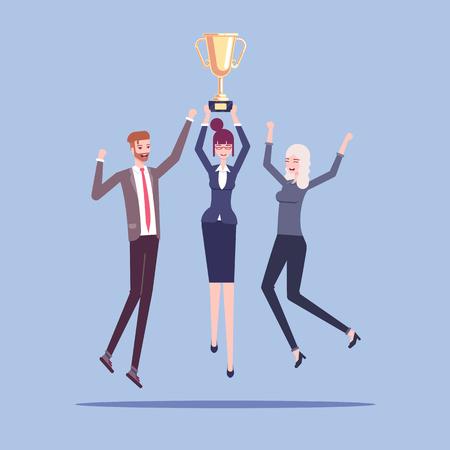 Business team achievement Illusztráció