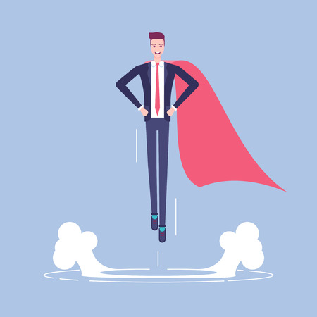 Businessman with cape flying up Illustration
