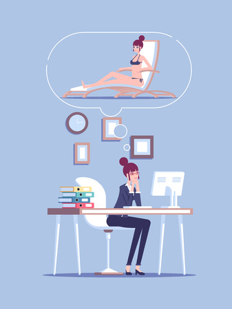 Tired business woman character overloaded at work and dreaming of vacation on beach resort vector flat illustration. Stressed businesswoman thinking of herself lying on a chaise longue in swim suit.