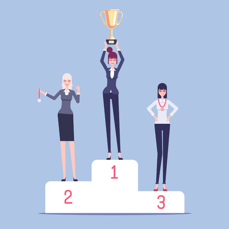 Business women winners stand on pedestal at the awards ceremony flat illustration. Honoring and rewarding woman gold cup for first place and awarding medals to others. Business concept competition