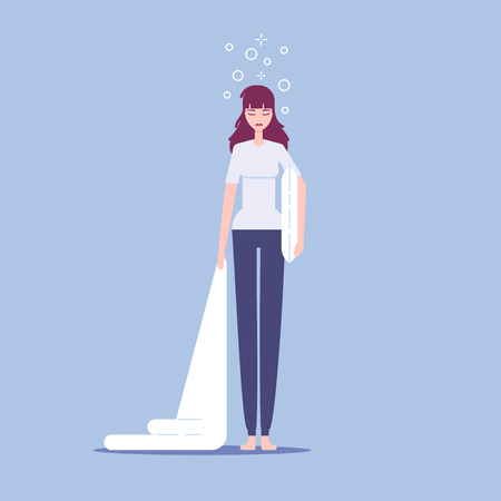 Cartoon tired sleepy woman standing with pillow and blanket in her hands  flat style  illustration. Illustration