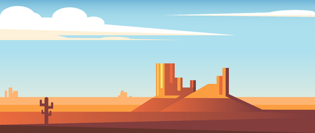 Cartoon desert wide landscape flat style  illustration.