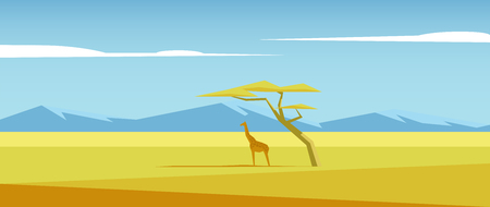 Africa landscape with giraffe standing under the acacia tree in the middle of savannah and mountains in the distance.