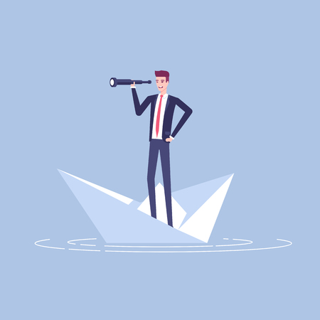 Young businessman floating on a paper boat and looking at the spyglass vector flat illustration. Business concept search of opportunity and risk. Illusztráció