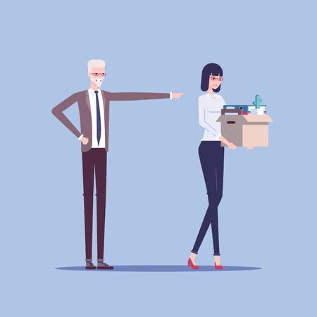 Angry boss firing employee. Dismissed frustrated business woman carrying box with her things vector flat illustration.