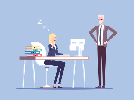 Boss caught a young female office worker relaxing at desk during work vector flat illustration. Tired businesswoman asleep on a workplace. Business concept lazy employee, staff reduced productivity.