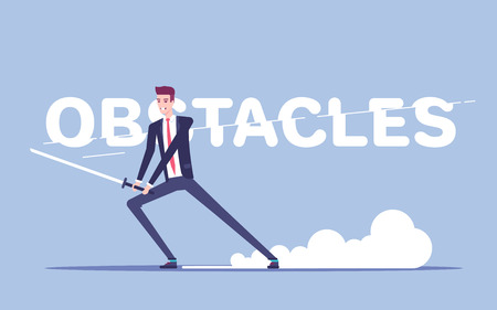Businessman with a sword cuts letters in the inscription obstacles vector flat illustration.