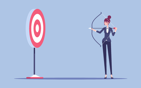 Young business woman with bow and arrow shoots to aim vector flat illustration.
