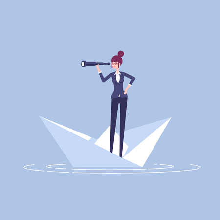 Young businesswoman floating on a paper boat and looking at spyglass vector flat illustration. Female office employee with telescope standing on a paper boat. Business concept opportunity and risk