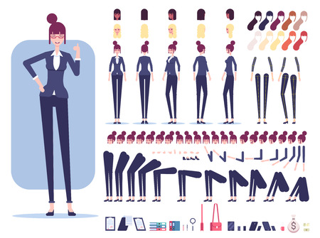Businesswoman character constructor or creation set. Female employee with different views, emotions, haircuts, office tools and skin color isolated on white background vector flat illustration. Illusztráció