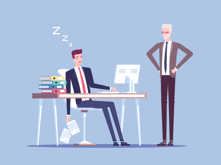 Angry boss and male office worker falling asleep at work in office vector flat illustration. Tired businessman or employee sleeping behind his desk while angry chief is standing near Illusztráció