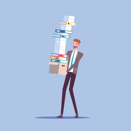 Businessman carries box with a large pile of documents and shoulders with papers that are about to fall vector flat illustration. Office employee and a large amount of paperwork. Illusztráció