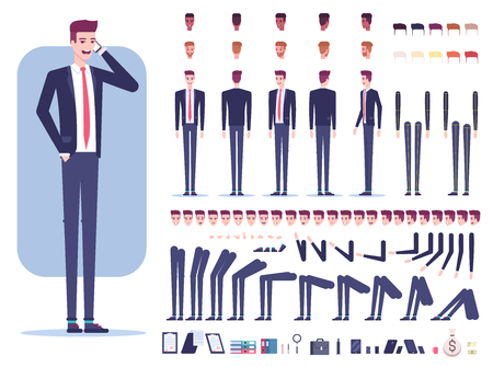 Businessman character creation set with different view, facial expressions, hair colors, skin tone, body parts, accessories and office supplies isolated on white background vector flat illustration. Illusztráció