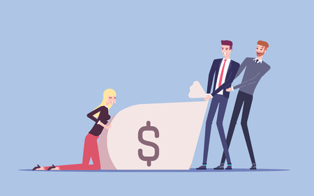Team of businessmen together trying to pull a big bag of money making every effort, apply all force and energy, collaborative work vector flat illustration. 일러스트