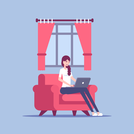 Young woman in home clothes sitting on the chair and using laptop in living room vector flat illustration. Illusztráció