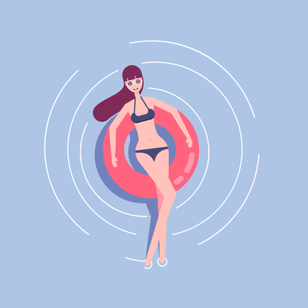 Young woman in swimsuit and sunglasses relaxing on a rubber ring in the sea or swiming pool vector flat illustration. The girl on a summer holiday swims on a swim ring