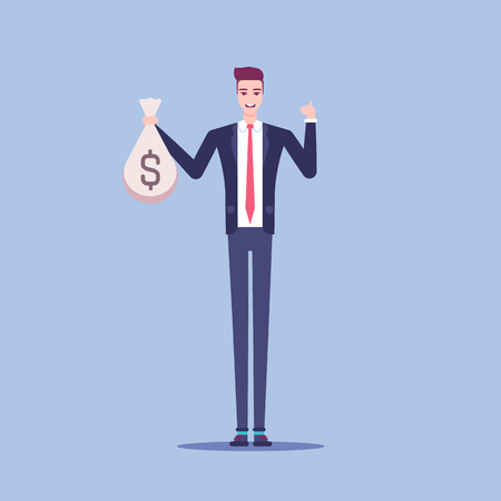 Smiling businessman stands with a full bag of money and shows thumb up vector flat illustration. Man in suit hold sack of money in his hand. Illusztráció