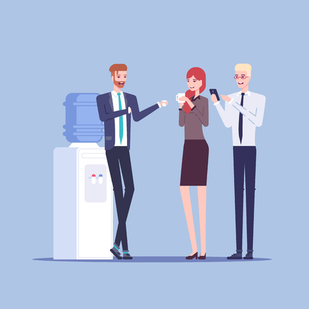 Young male and female office workers having informal conversation next to the watercooler, colleagues communicate with each other during a break vector flat illustration. Office cooler chat. Иллюстрация