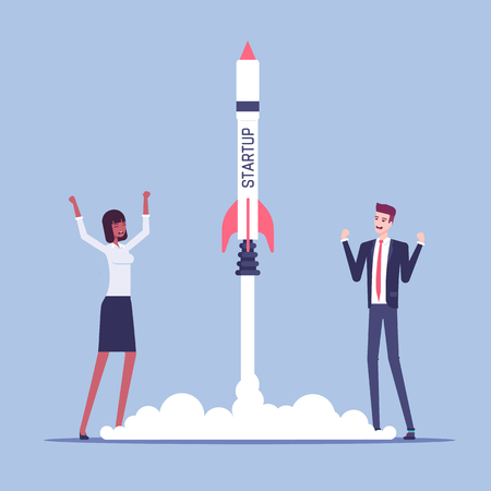 Startup concept illustration. Business people carried out a successful launch of rocket with the inscription startup, joyful businessmen launched a spaceship vector flat illustration