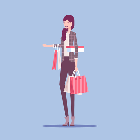Fashionable young woman standing with a lot shopping bags. Shop sale, black friday vector flat illustration. Illusztráció
