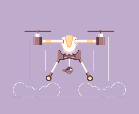 Take off aerial drone with a camera for photography or video recording . Flying quadcopter vector flat illustration Illusztráció