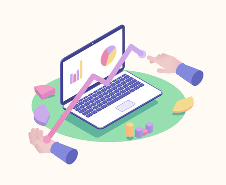 Isometric laptop with financial review and infographic elements vector illustration. Isometric hands control charts and graphs on laptop. Concept business strategy and analysis data