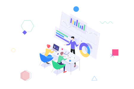 A group of people at a business meeting at the table in front of the screen with graphs. Business concept ananlysis and financial management report strategy. Isometric vector illustration Ilustração