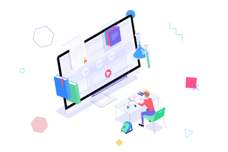 Concept online education, graduation, e-learning. Isometric student sitting at the table solving the test in front of monitor with training videos, diploma and other elements of online learning.
