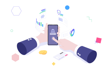 Online banking isometric vector concept. Hands holding smartphone with online banking service. Internet money transfers, secure payment smartphone paying protection.