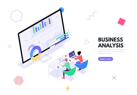 A group of workers sits at a table in front of a monitor with graphs and charts. The concept of business analytics, data analysis and financial management vector isometric illustration Ilustração