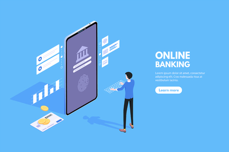 business concept online banking, online payments, notification on financial transaction, receipt of statistics data,. Isometric smartphone and a man logging into the application for mobile bank