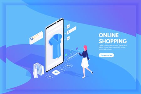 Mobile shopping, m-commerce, distant trade and online store concept with character isometric vector illustration. Woman with a smartphone makes purchases in the online store.