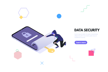 Concept data security and data leakage. Thief hacker in the hood steals password and gets access to personal phone data. Weak password concept. Vector isometric illustration