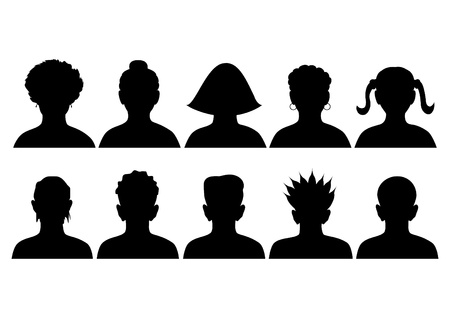 set of silhouettes of heads, anonymous mugshots, vector Vector