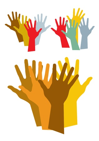 mixed race children: colorful hands silhouette vector