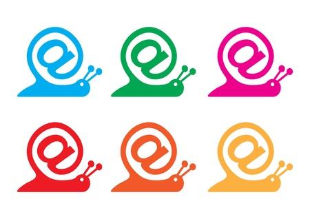salyangoz: snail as internet sign and contact sign icon, vector Çizim