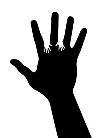 mixed race children: adult hand silhouette with baby hand silhouette vector Illustration