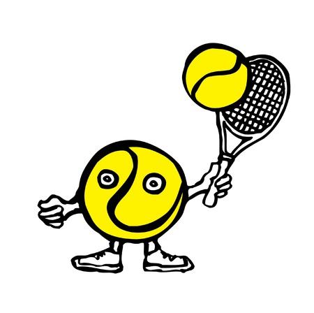 Cartoon tennis ball holding his racket, vector  Vector