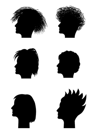 mugshot: black silhouette woman profile, vector Illustration