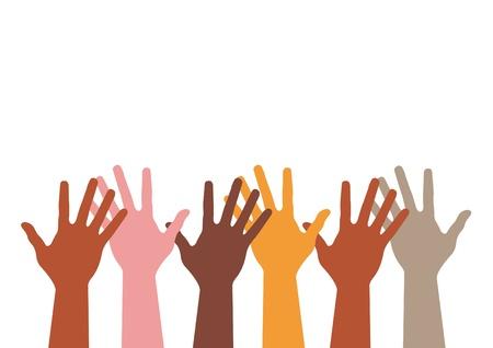 multicultureel: kleurrijke handen silhouet.