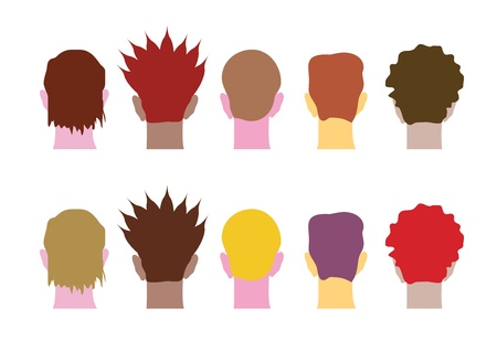 A set of man heads, multicultural people. Vector