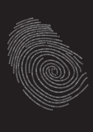 touching hands: Privacy finger print. Illustration