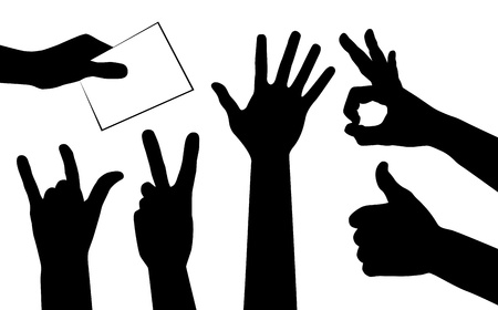 votes: hands silhouettes. Illustration
