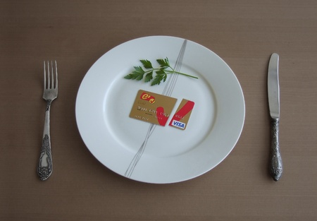 mastercard: credit card on plate