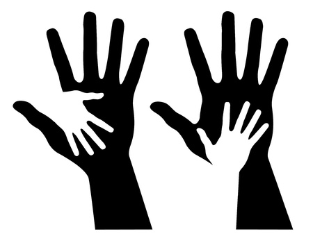 Helping hands, abstract illustration Illustration