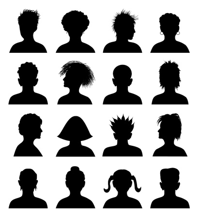 abstract portrait: 16 silhouettes of heads, vector