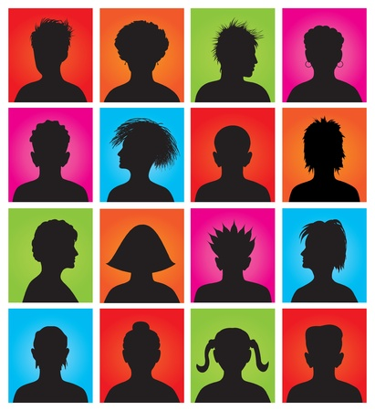 head and shoulders portrait: 16 anonymous colorful avatars, vector  Illustration