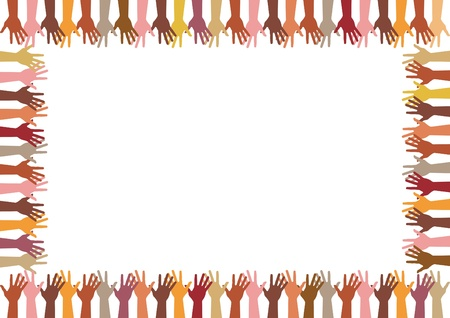volunteers: colorful frame up hands, abstract illustration Illustration