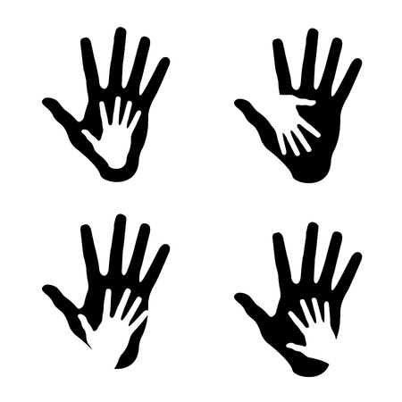 Set of Helping hands, abstract illustrations Vector
