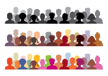 alone in crowd: Set of audience illustrations, vector illustration